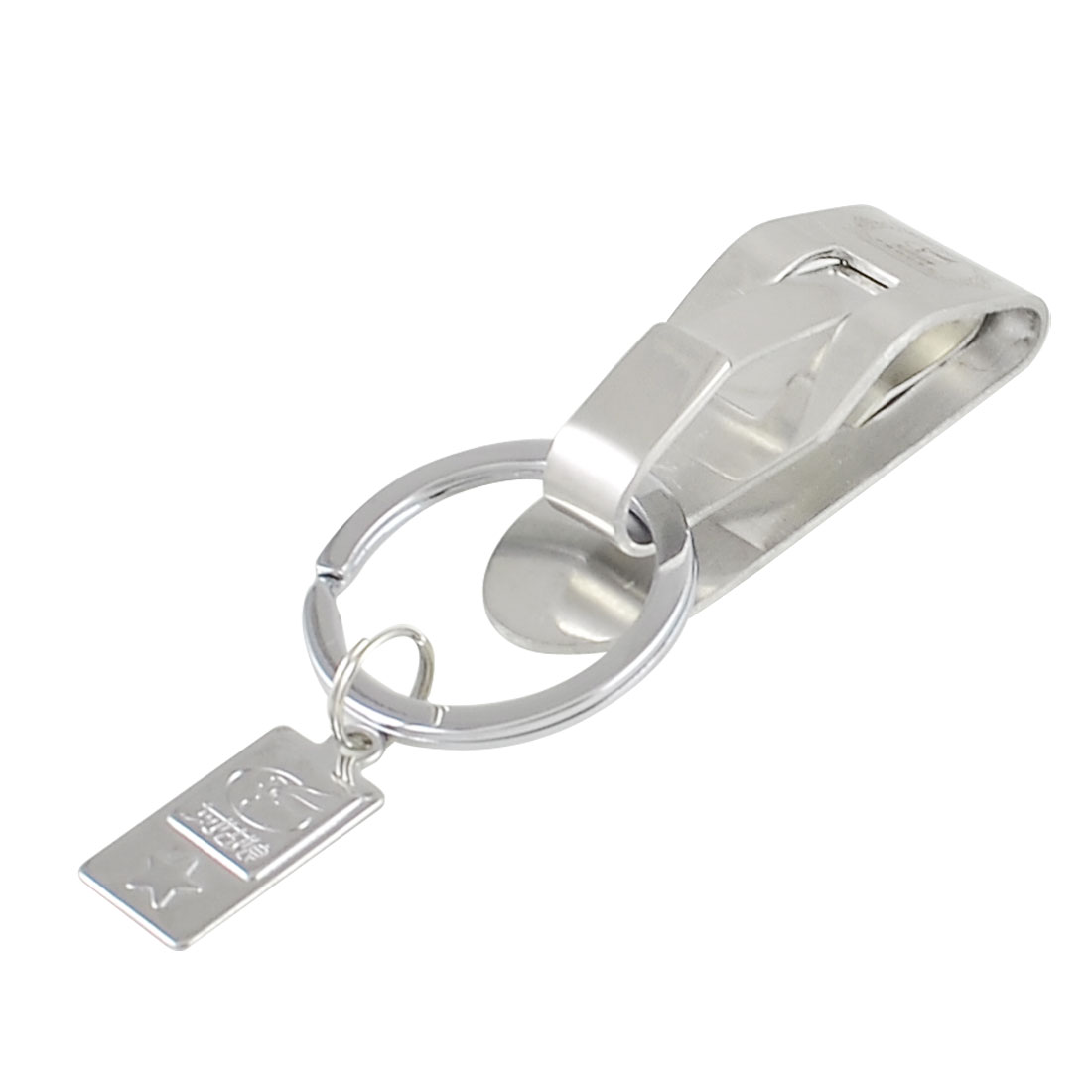 Silver Tone Belt Hook Clip Polished Single Split Ring Keyring Key Holder
