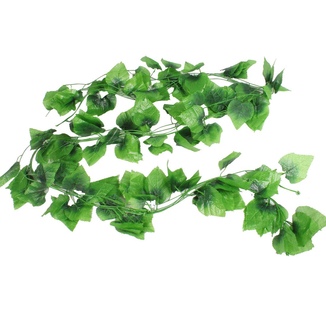 Home Wedding Party Decor Green Plastic Simulated Leaf Plant Vine 7.9Ft 5 Pcs