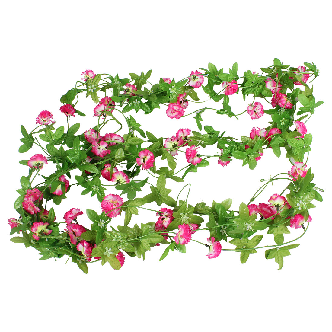 Party Decor Light Green Leaves Pink Plastic Flower Simulated Vine Plant 8.5Ft 5 Pcs