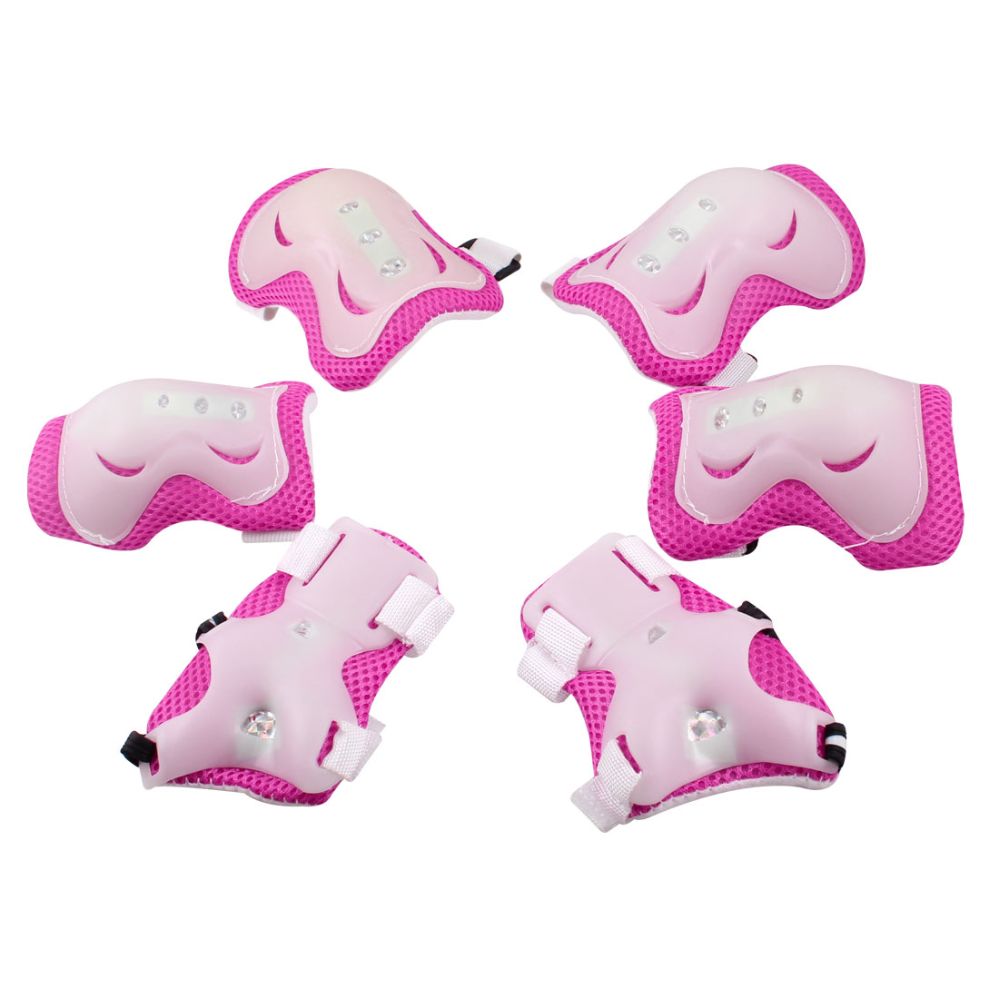 Children Skating Cycling Pink White Wrist Elbow Knee Pads Protectors Set 3 in 1