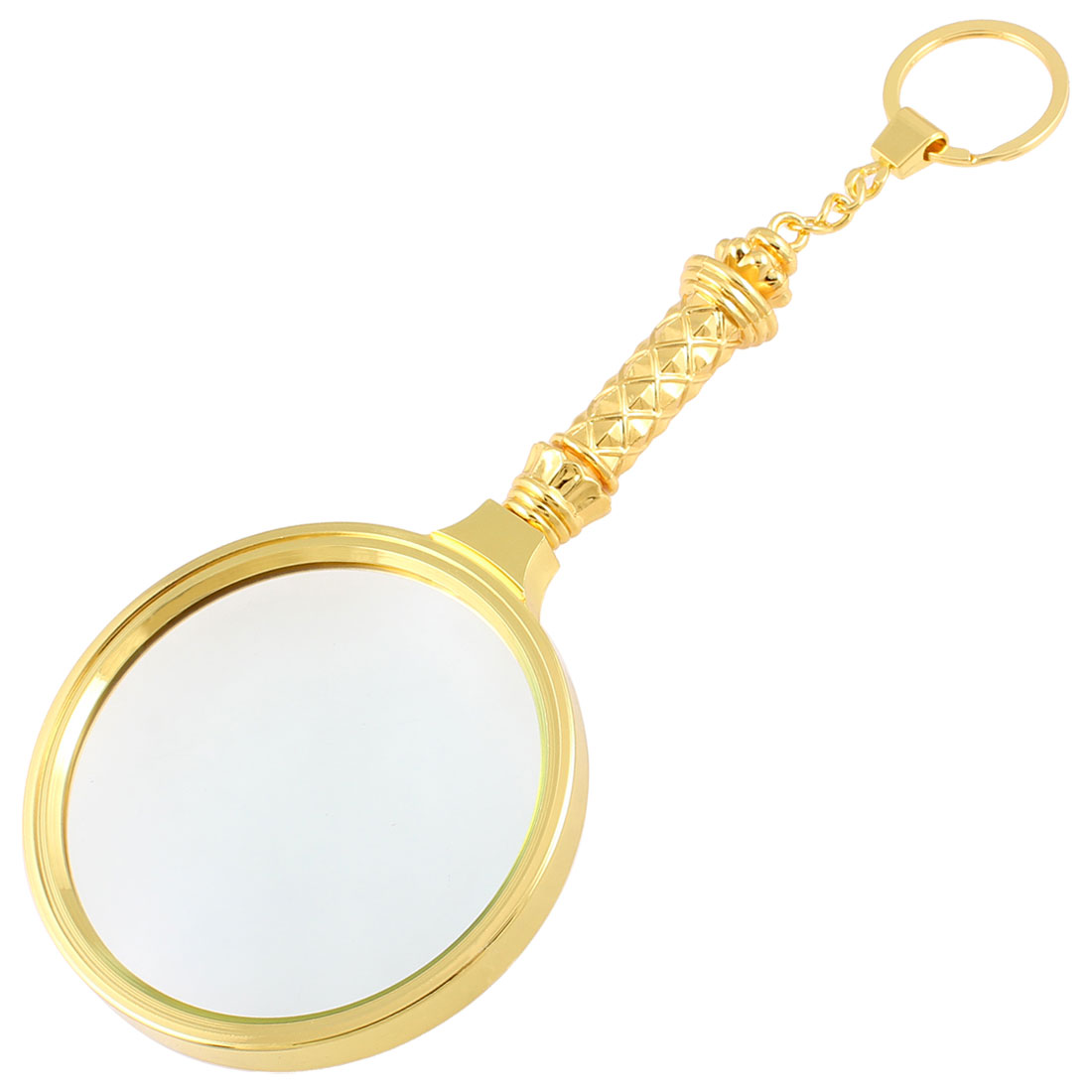 Gold Tone Metal Handle 78mm Dia.Lens Magnifier Magnifying Glass Keyring 4X
