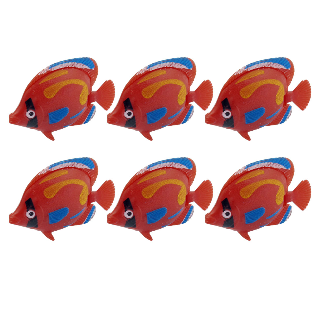 6 Pcs Decor Red Blue Yellow Plastic Floating Swing Tail Tropical Fish
