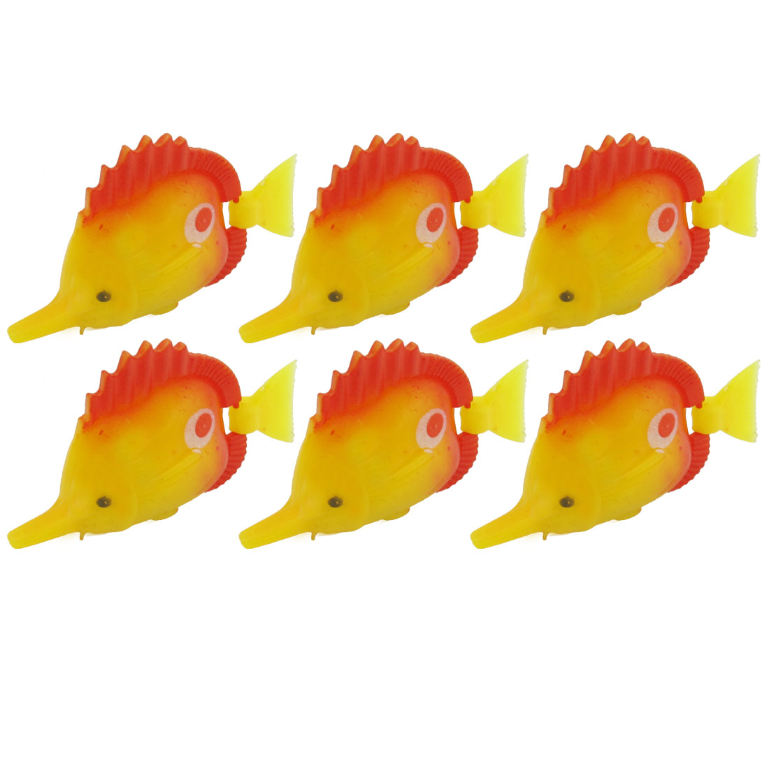 Aquarium Flexible Swing Tail Red Yellow Plastic Fish 6 Pcs