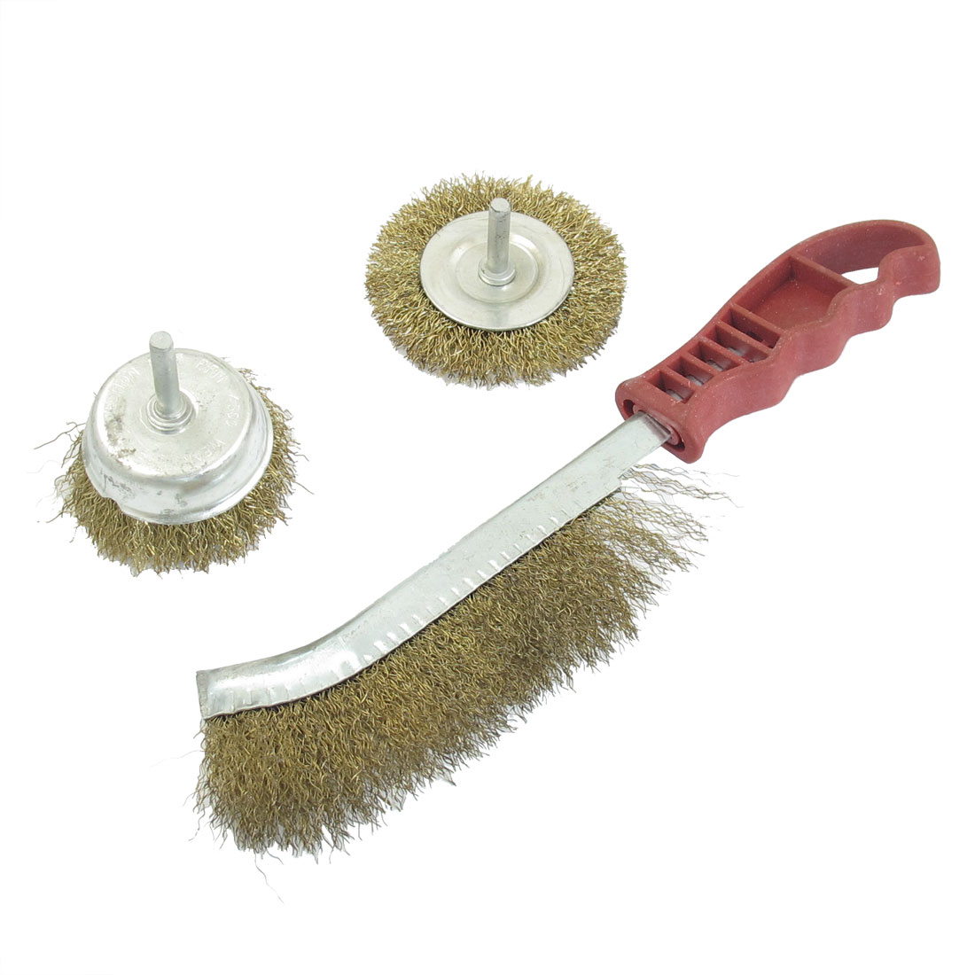 Red Plastic Handle Brass Tone Steel Wire Polishing Brushes Wheel 3 in 1