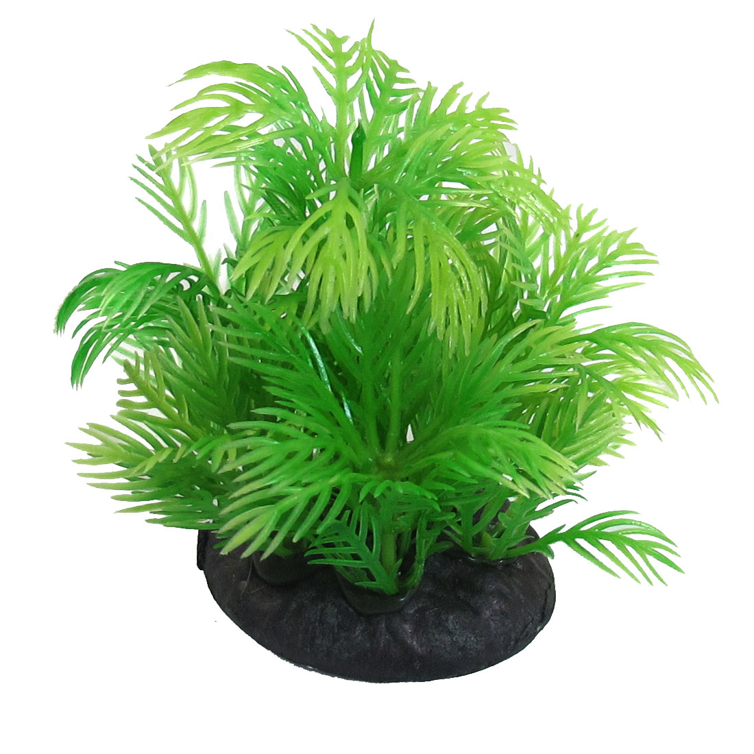 8cm Green Aquarium Plastic Grass Plant w Ceramic Base