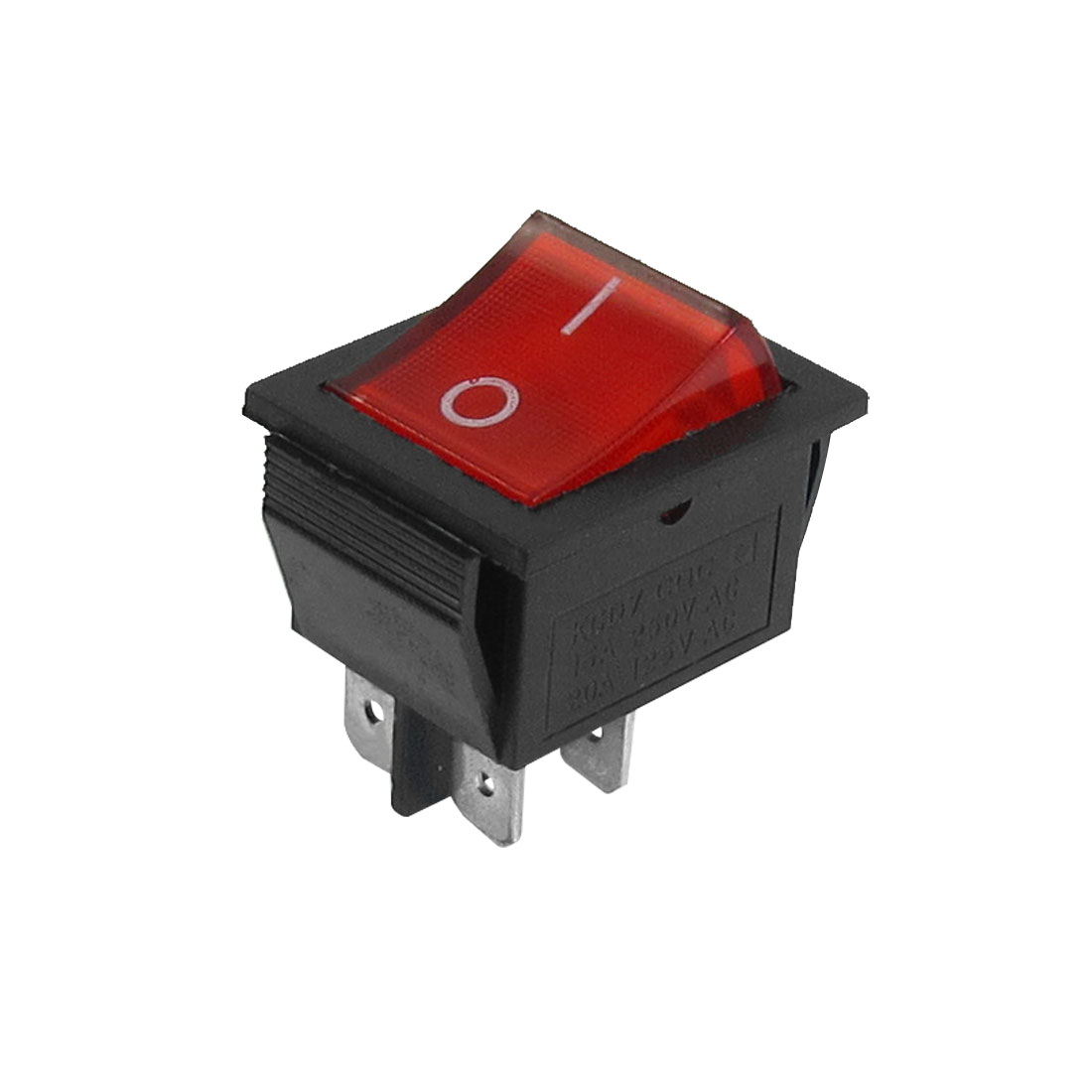 DPST 4 Pin On/Off 2 Position Boat Rocker Switch Red Light 15A/250V 20A/125V AC
