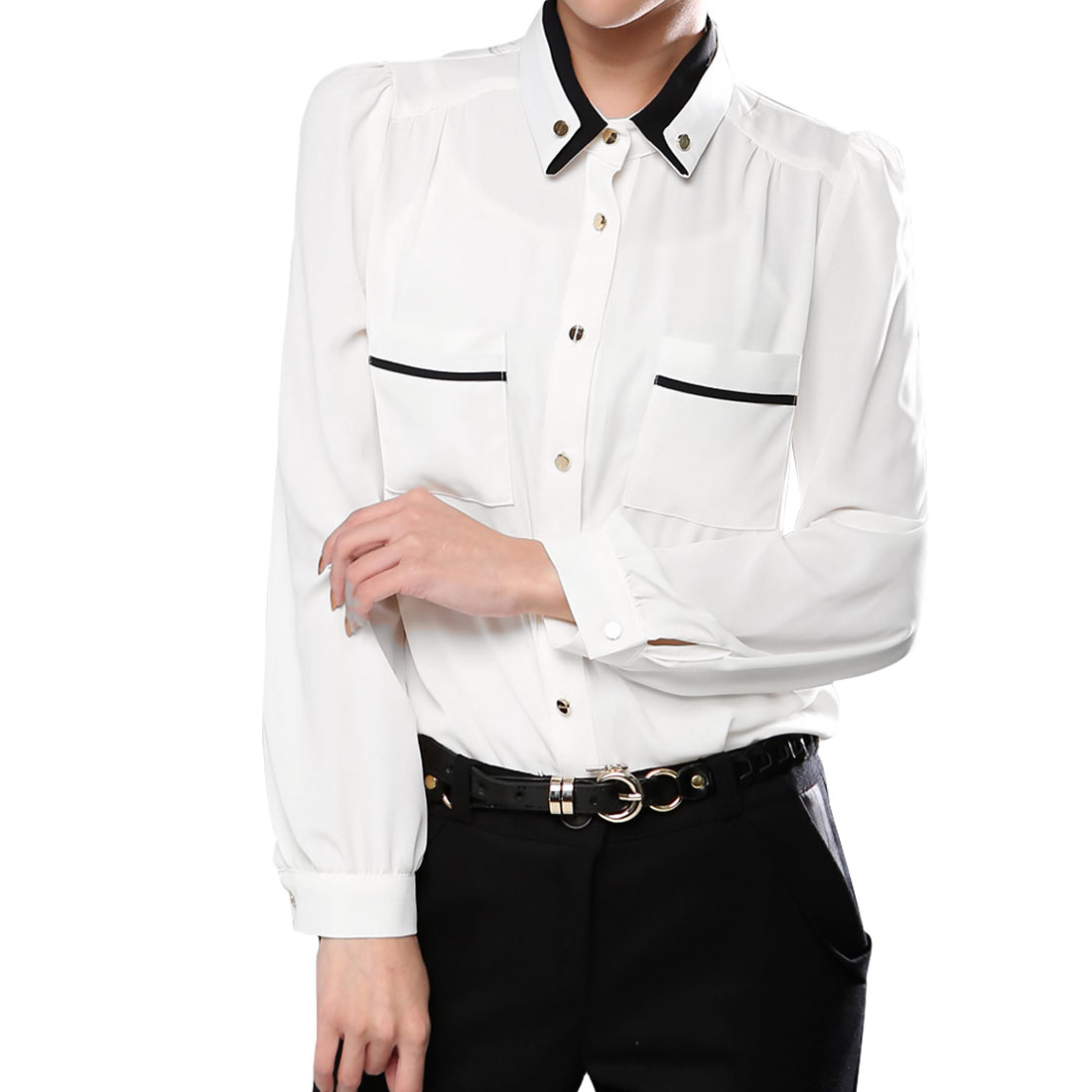 Ladies Long Sleeve Buttoned Cuff Crew Neck Chic Shirt White S