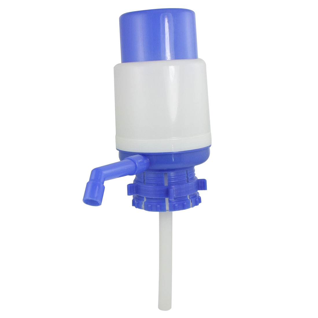 Hand Operate Blue White Plastic Cylinder Shape Drinking Water Pump w 3 Tube