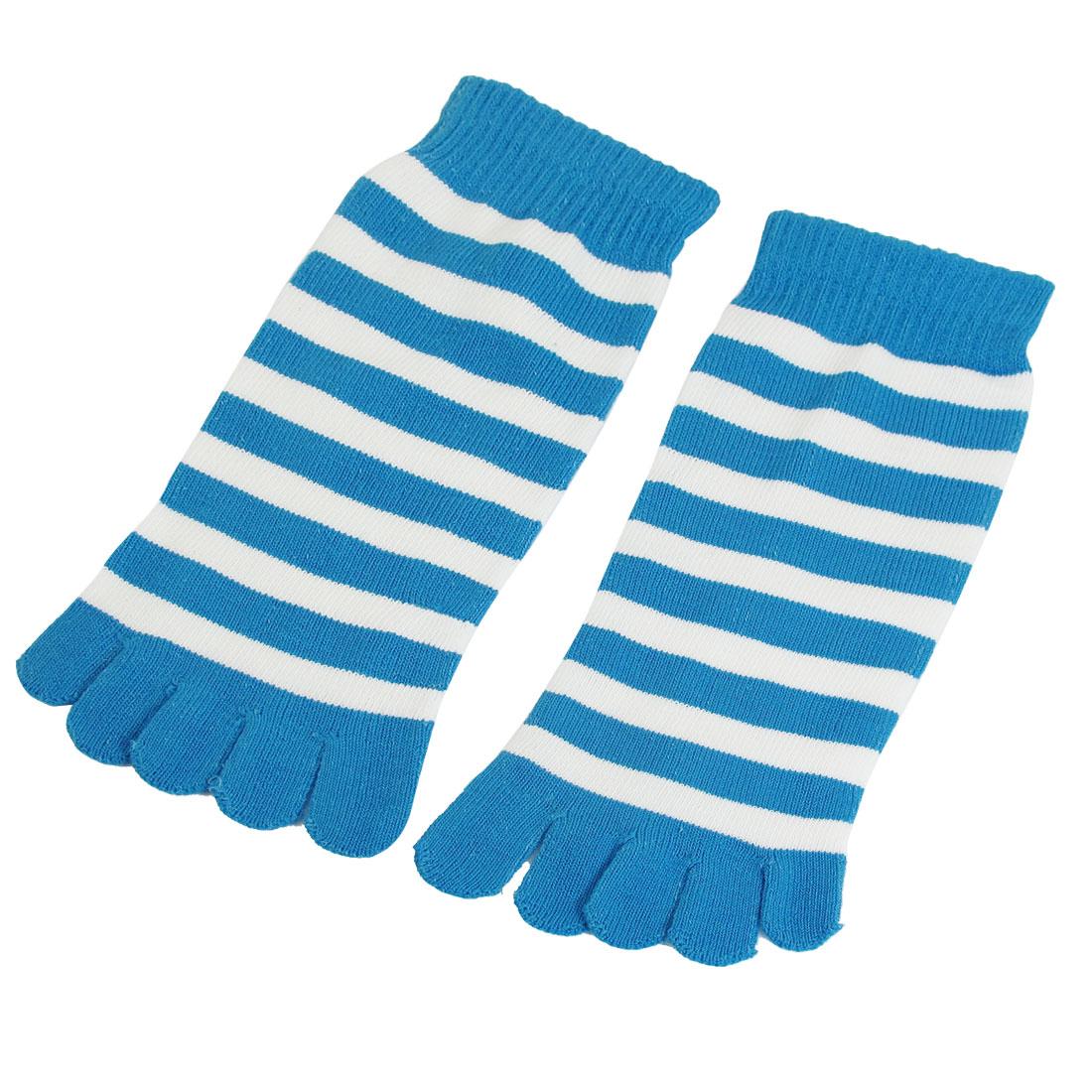 Women White Blue Striped Ankle Length Funny Feet Toe Socks Pair