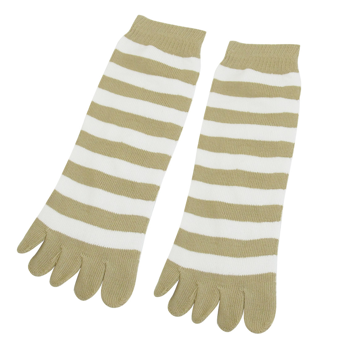 Woman Elastic Beige White Stripes Decor Warm Five Toe Socks 2pcs