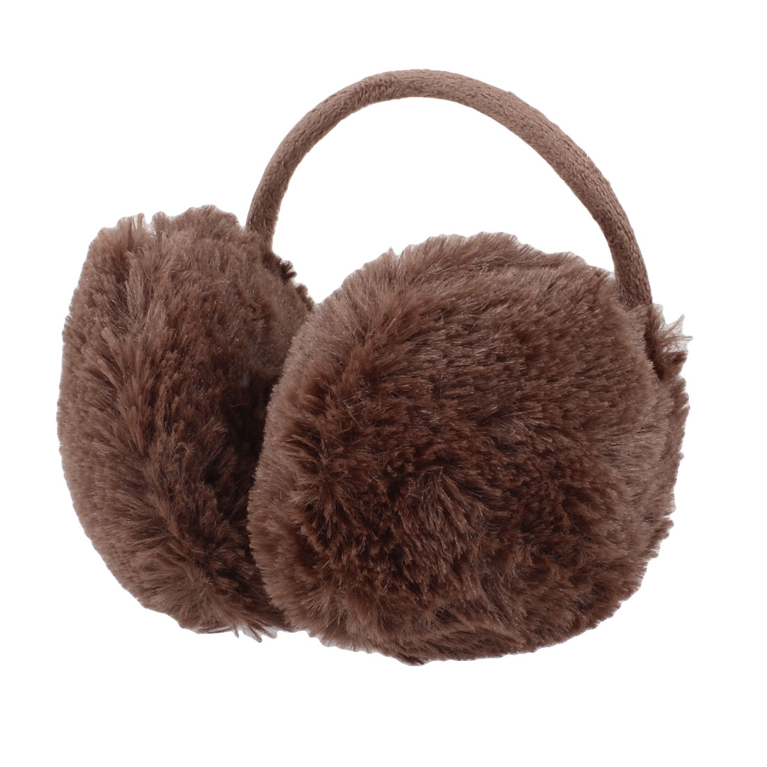 Coffee Color Metal Frame Fluffy Ear Cover Back Earmuffs for Child