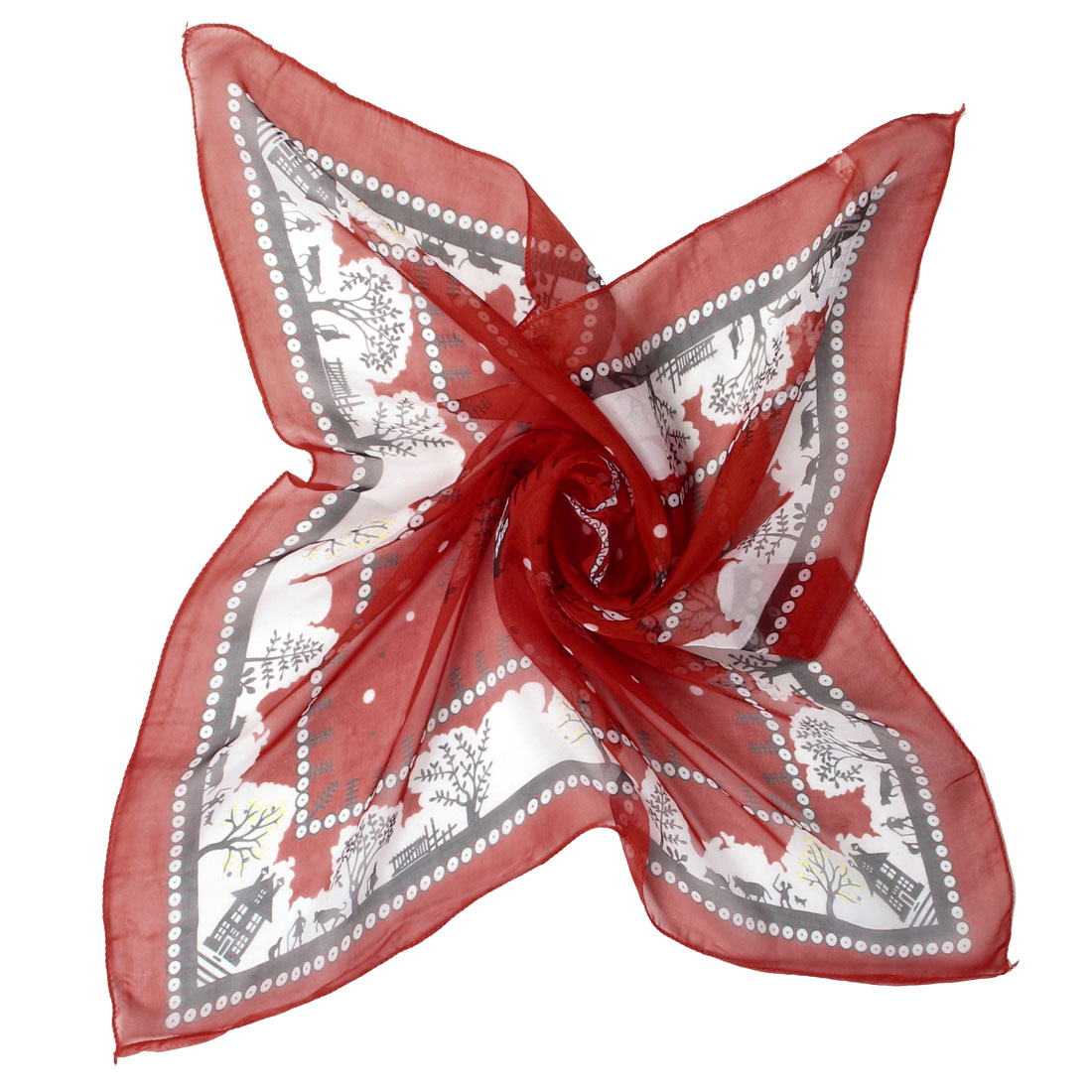 Red Hem Novelty Prints Square Voile Scarf Neckerchief Neck Wrap for  Red Neck Scarves For Women