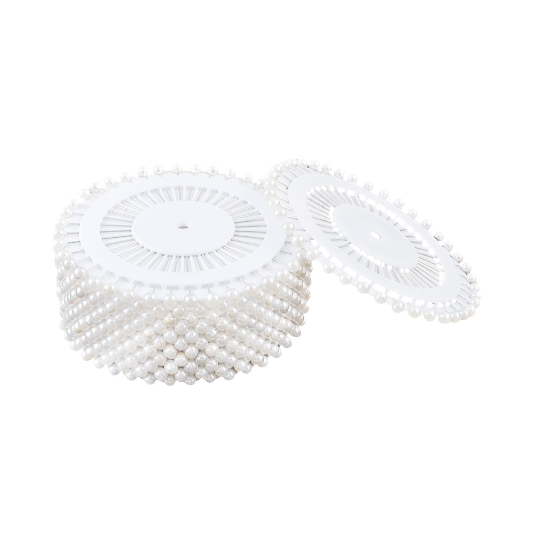 Imitation Pearl Head Clothing Corsage Locating Sewing Pin Silver Tone White 500 Pcs