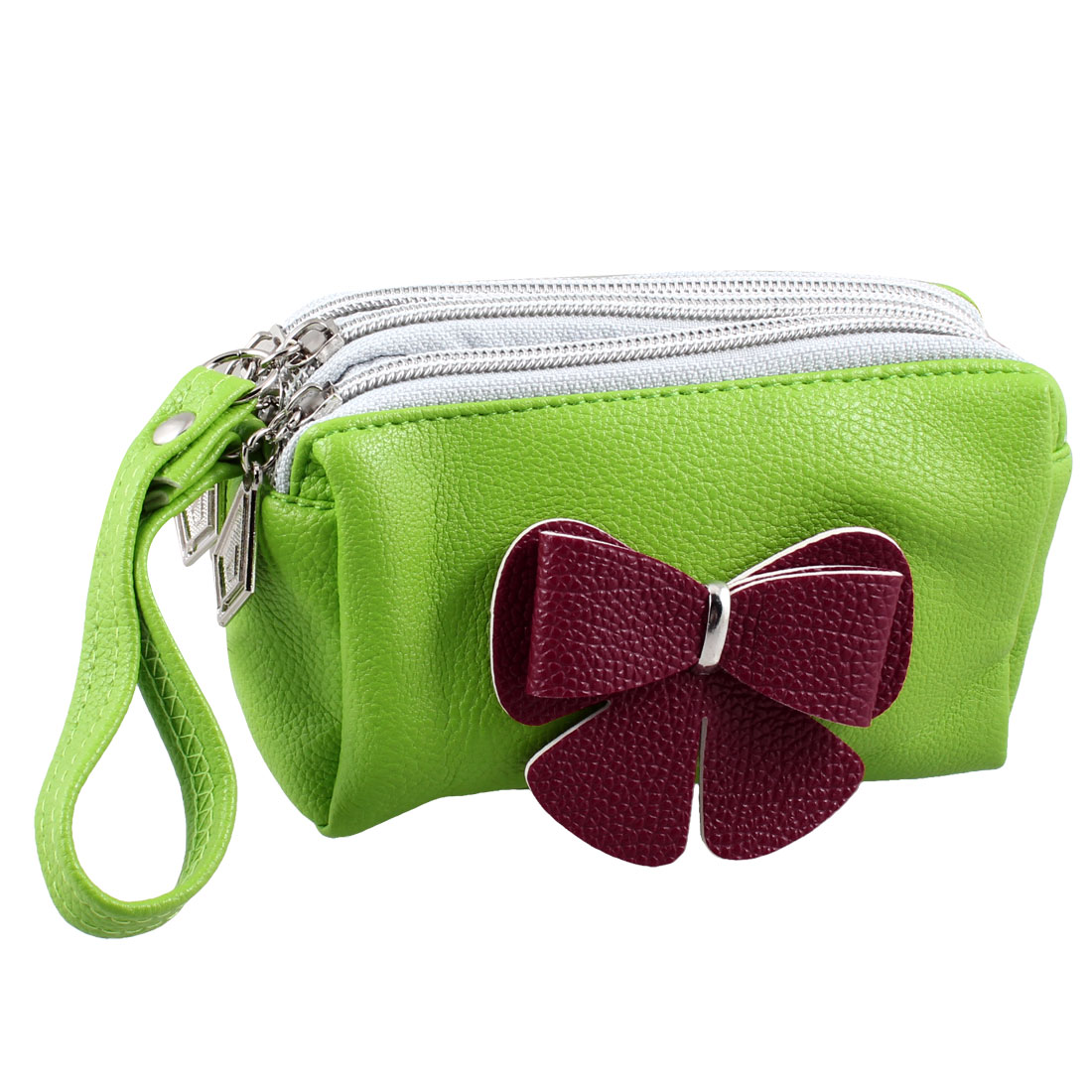 Ladies 3D Bowknot Accent Green Textured Faux Leather Wrist Bag Purse