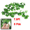 Home Wedding Party Decor Green Plastic Simulated Leaf Plant Vine 7.9Ft 5 Pcs