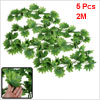5 Pcs Green Plastic Simulated Vine Plant Leaf Wall Hang Ornament 6.5Ft for Party