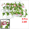 Party Decor Pink Morning Glory Green Plastic Leaf Simulated Vine 7.9Ft 5 Pcs
