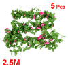 Party Decor Green Leaves Pink Plastic Flower Simulated Vine Plant 8.2Ft 5 Pcs