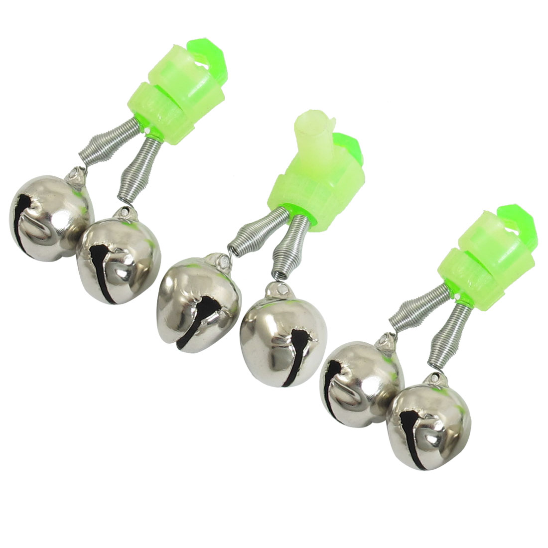 3 Pcs Fishing Rod Tip Green Silver Tone Double Bell Bait Alarm Ring