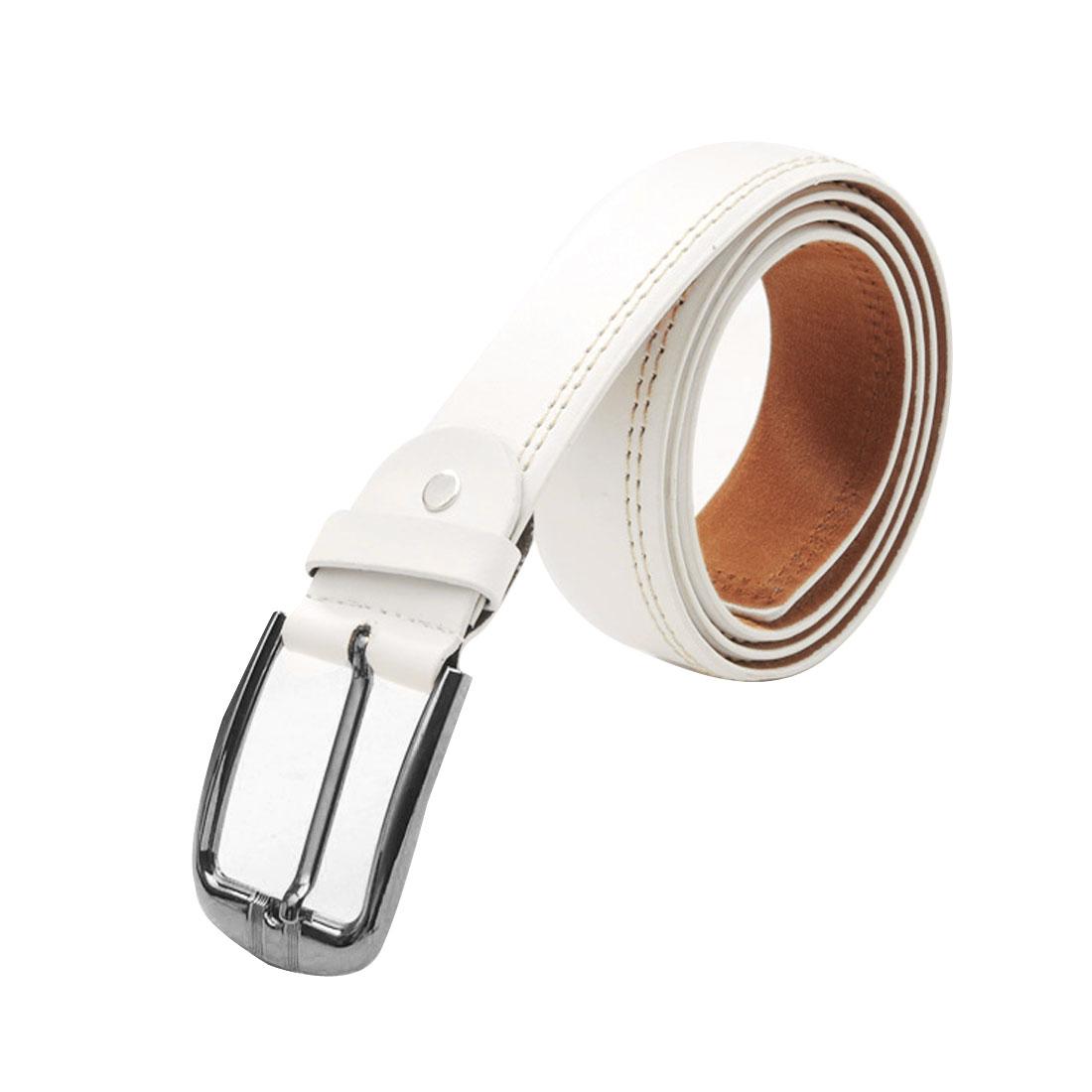 Mens White Fashion Faux Leather Adjustable Band 5 Eyelets Belt