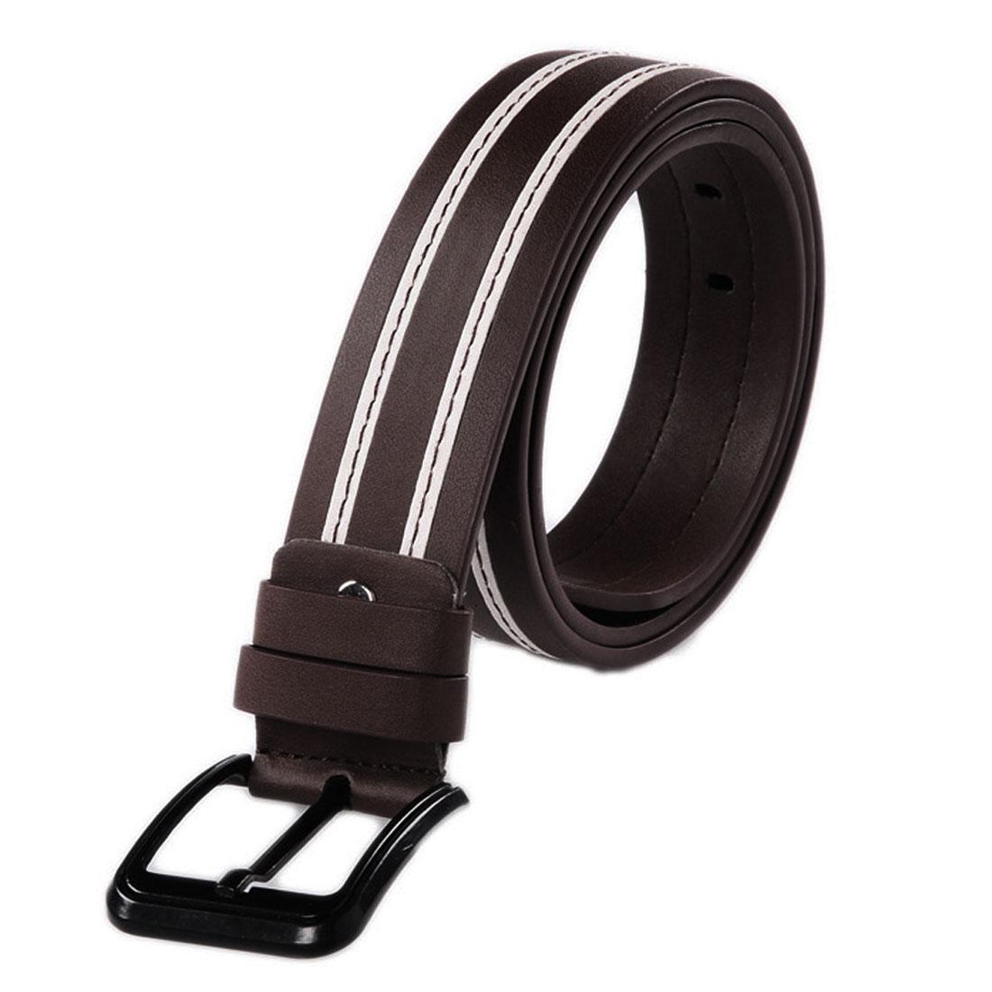 Mens Coffee Color Contrast Color Design Five Eyelets Waist Belt