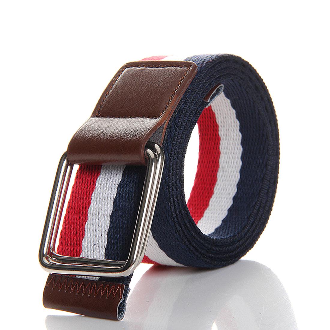 Unisex New Fashion Dark Blue Red Patch Canvas Webbing Waistbelt