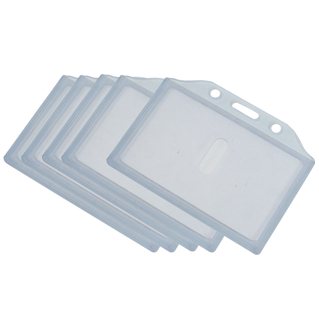 Office School Clear Gray Plastic Horizontal Business ID Badge Card Holder 5 Pcs