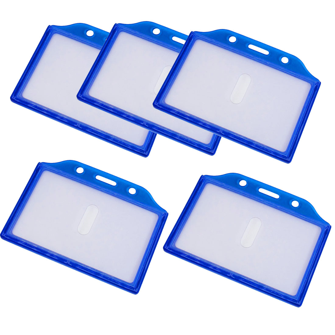 5PCS Clear Blue Plastic Horizontal Business Name Badge Credit Card Holder Case