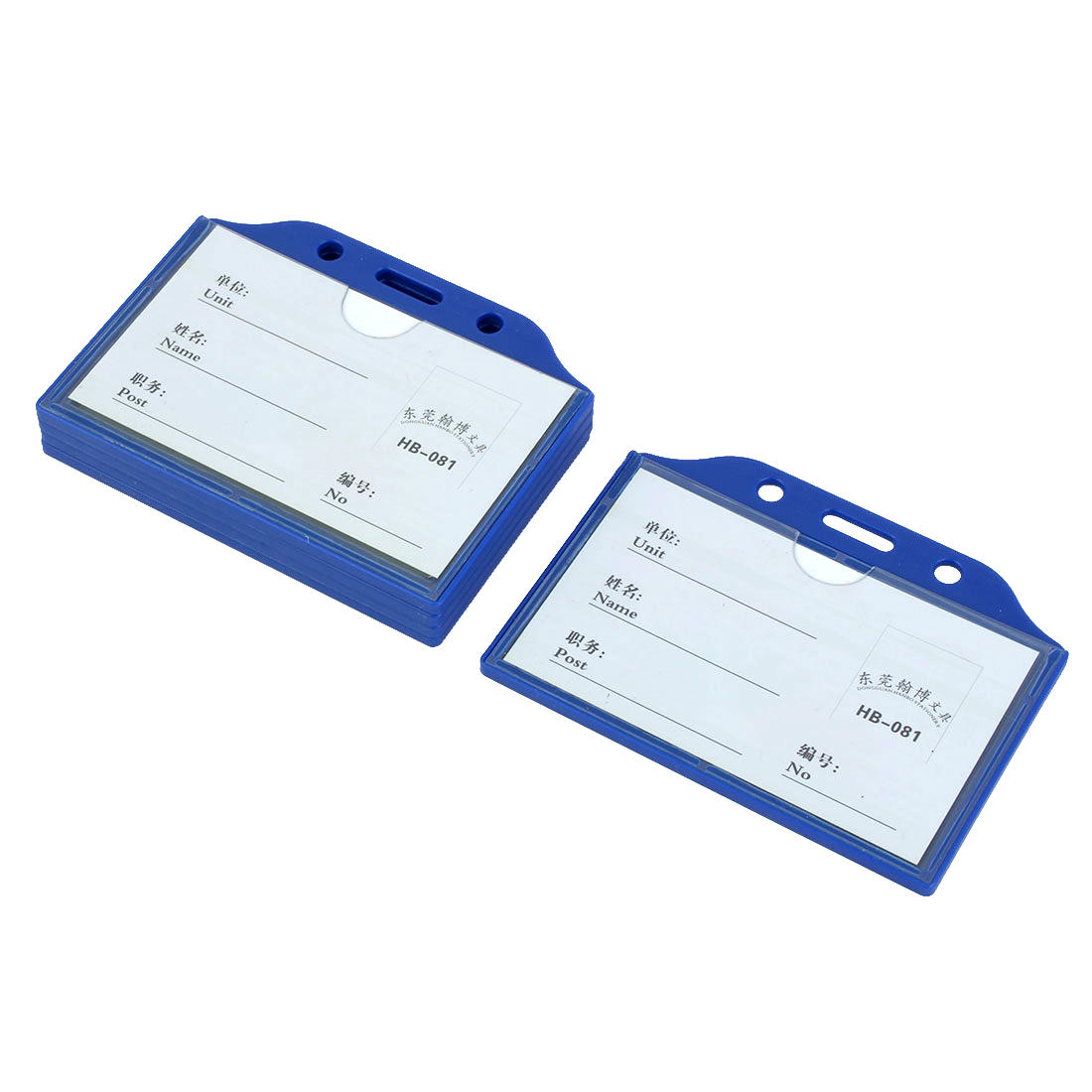 Office School Blue Clear Plastic Horizontal Business ID Badge Card Holder 5 Pcs