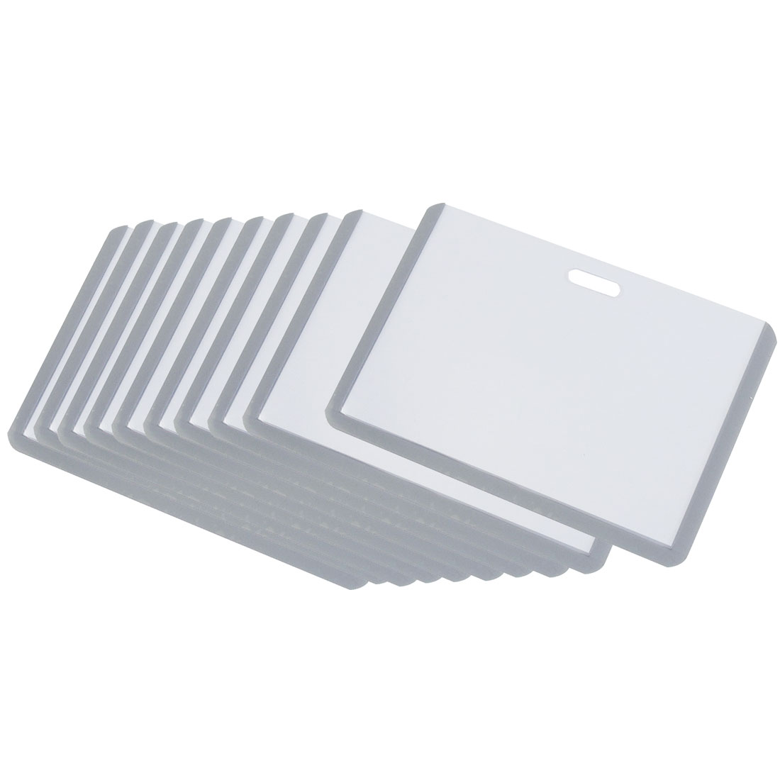 10PCS Gray Clear Plastic Horizontal Business Name ID Badge Credit Card Holders