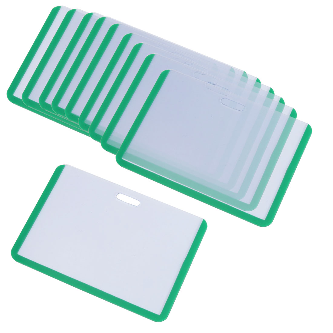 Office Worker Green Clear Plastic Horizontal Business ID Badge Card Holder 10pcs