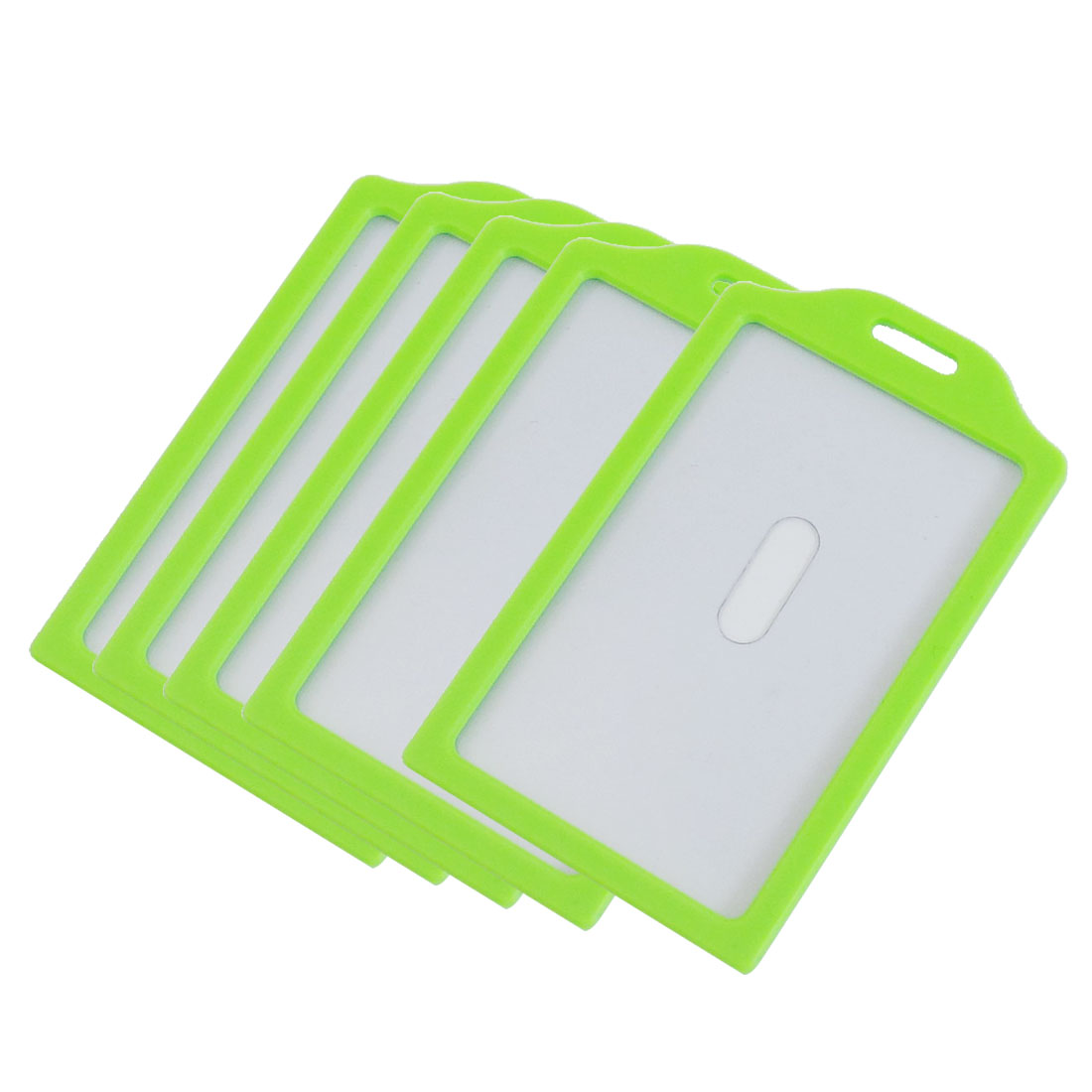 Green Clear Plastic Vertical Business Working ID Badge Name Card Holder 5 Pcs