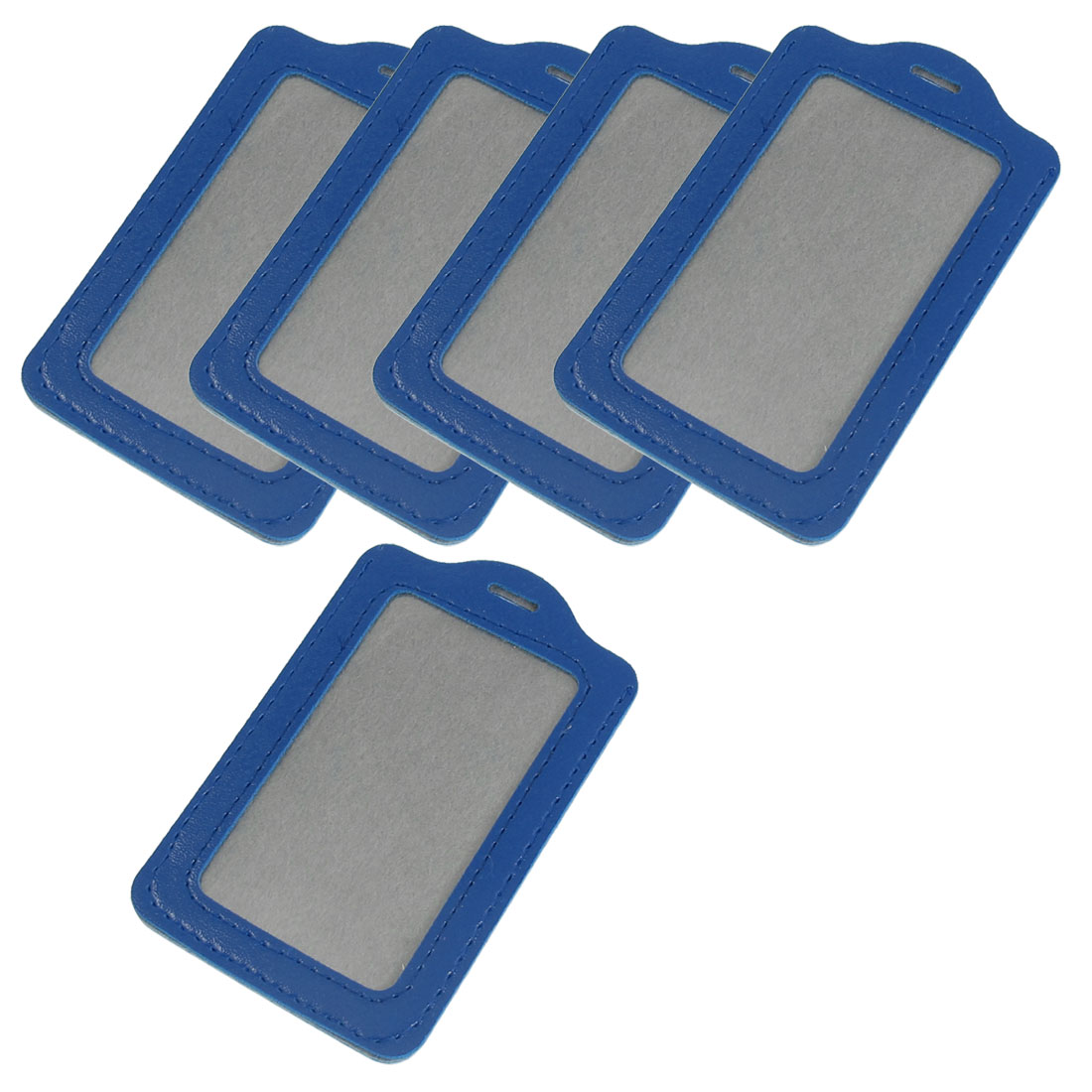 Office Workers Blue Faux Leather Vertical Business ID Badge Card Holders 5PCS