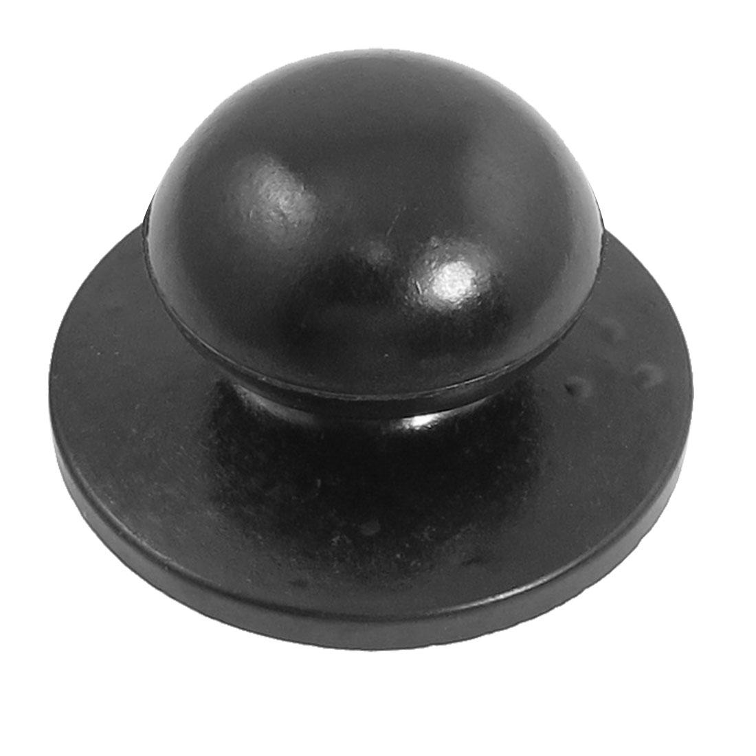 5mm Screw Diameter Black Plastic Cookware Pot Pan Lid Round Knob Replacement