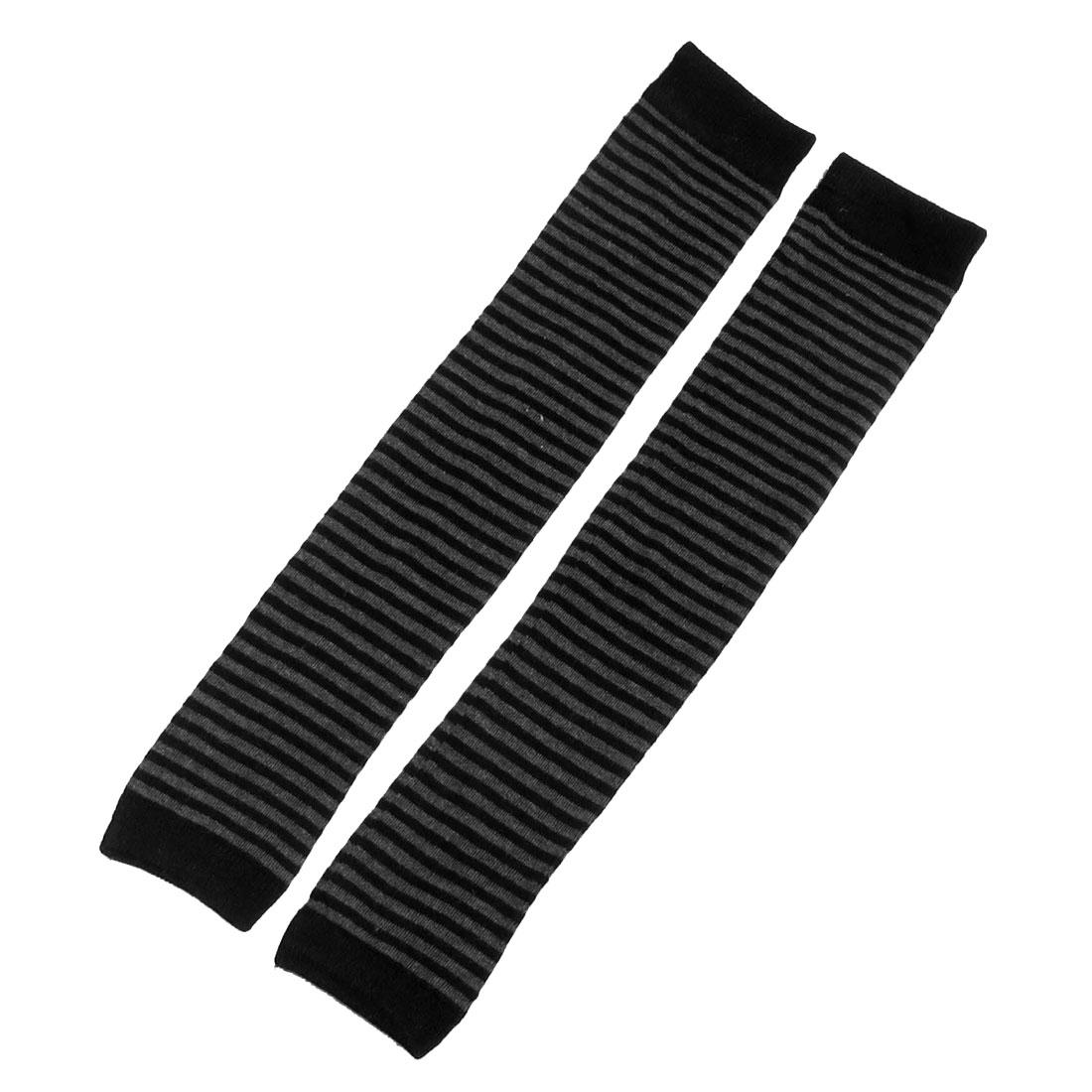 Black Gray Striped Pattern Knitting Winter Toeless Leg Warmers Stockings for Women
