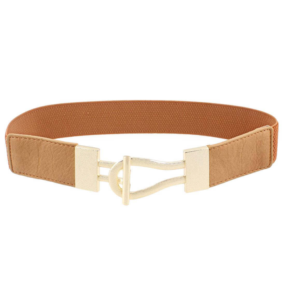 Woman Litchi Print Interlocking Buckle Waist Belt Waistband Blouse Corset Band Brown