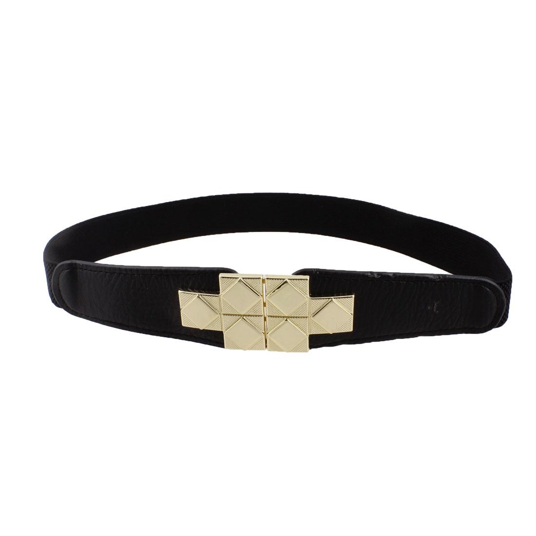 Lady T Shaped Interlocking Buckle Stretchy Waist Belt Waistband Corset Band Black