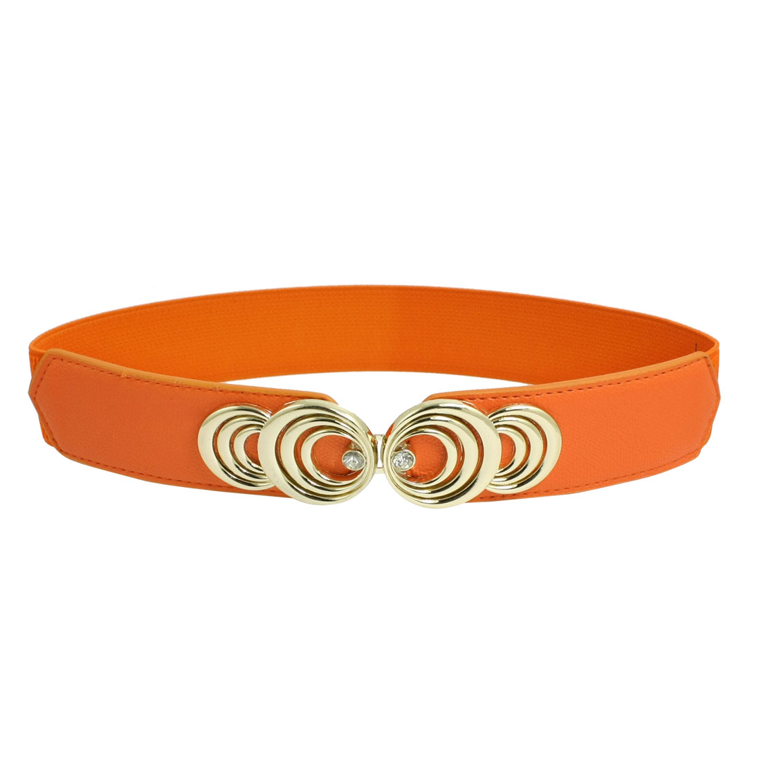 Women 3.8cm Wide Metal Interlock Buckle Stretch Cinch Waist Belt Orange