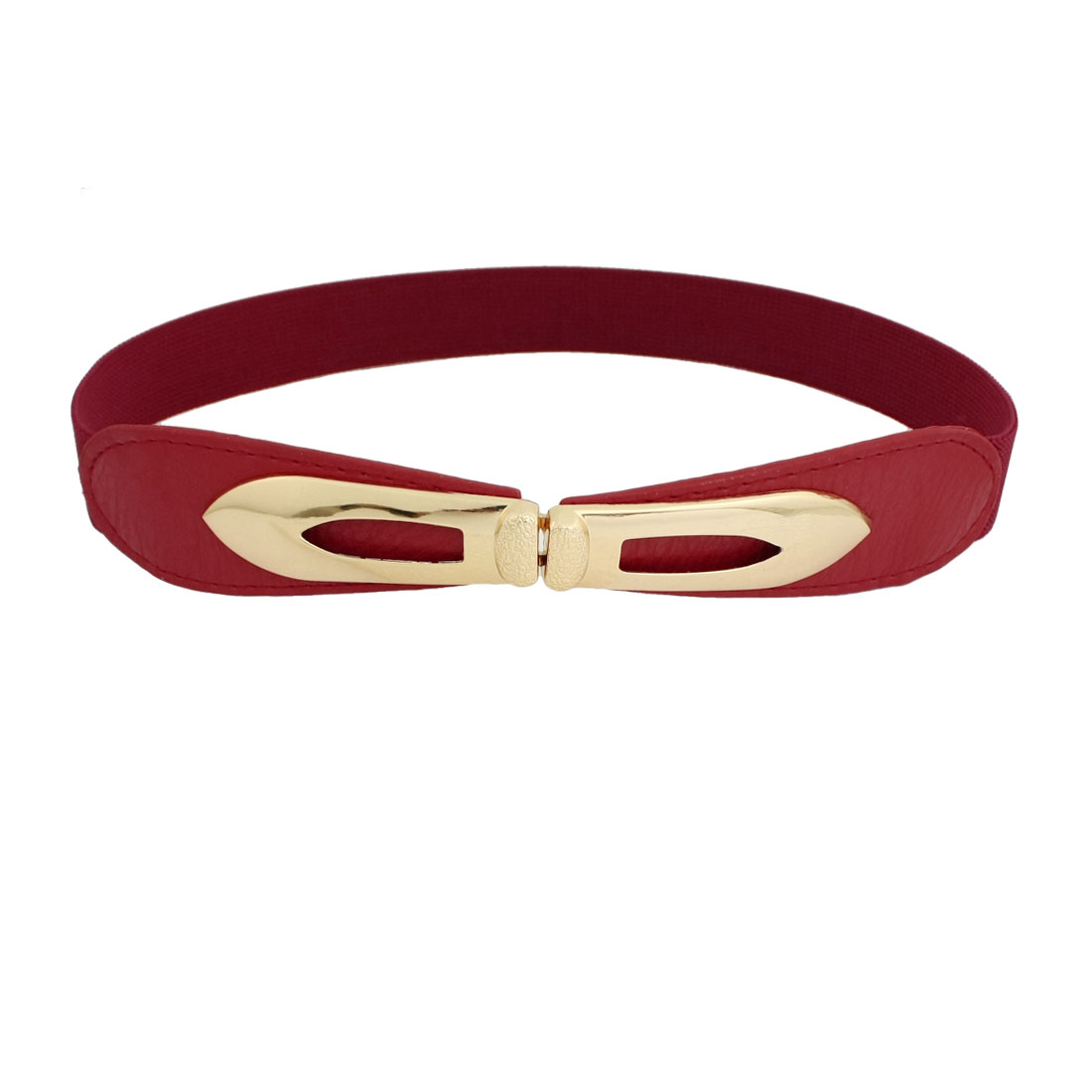 Red 2.5cm Wide Interlocking Buckle Elastic Cinch Belts for Woman