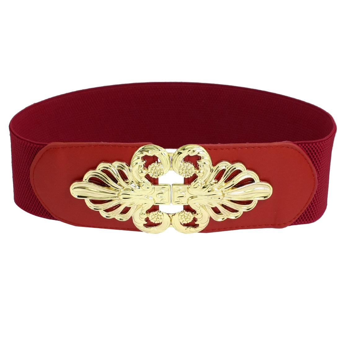 Red 6cm Width Interlocking Buckle Elastic Cinch Belts for Women