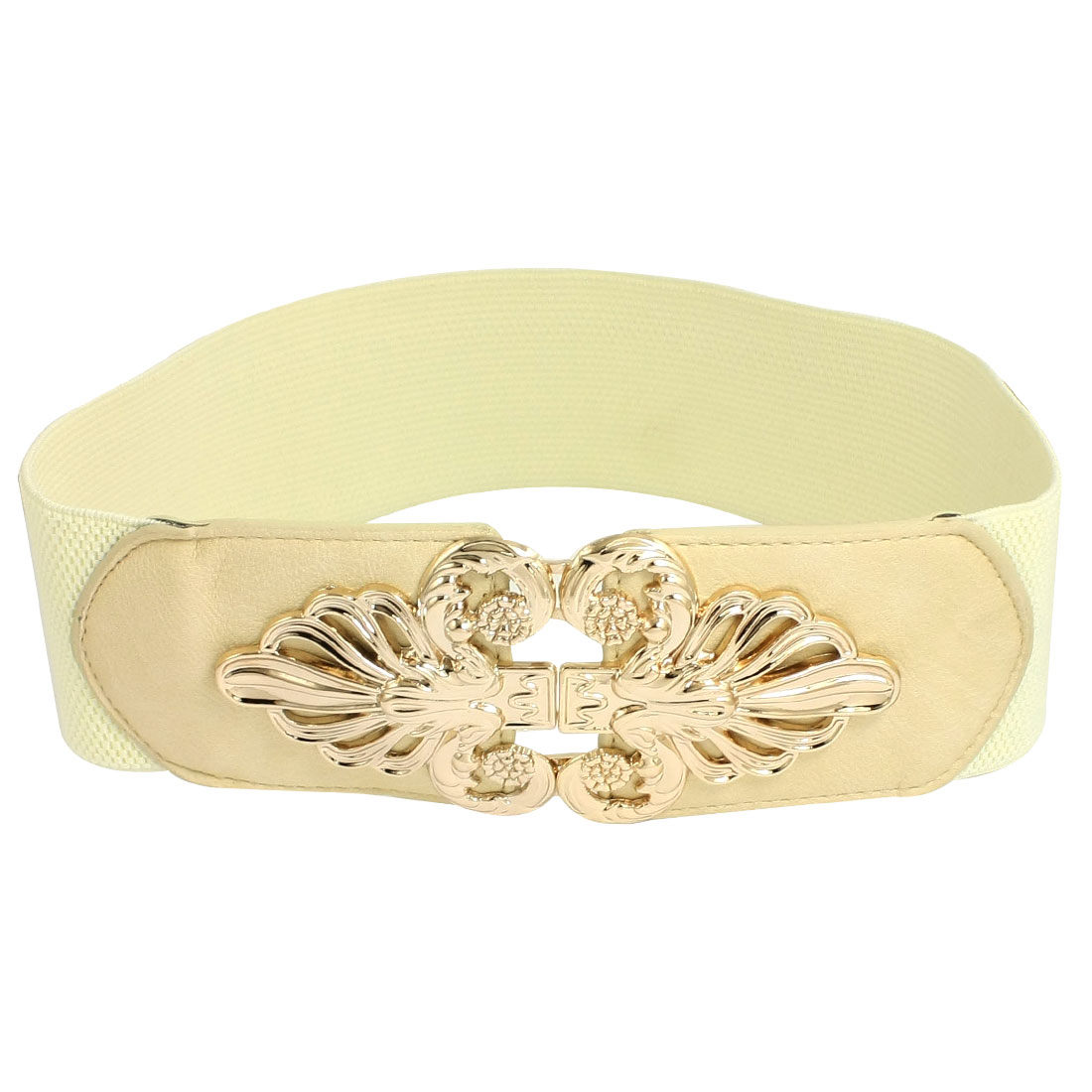 White 6cm Width Interlocking Buckle Elastic Cinch Belts for Women