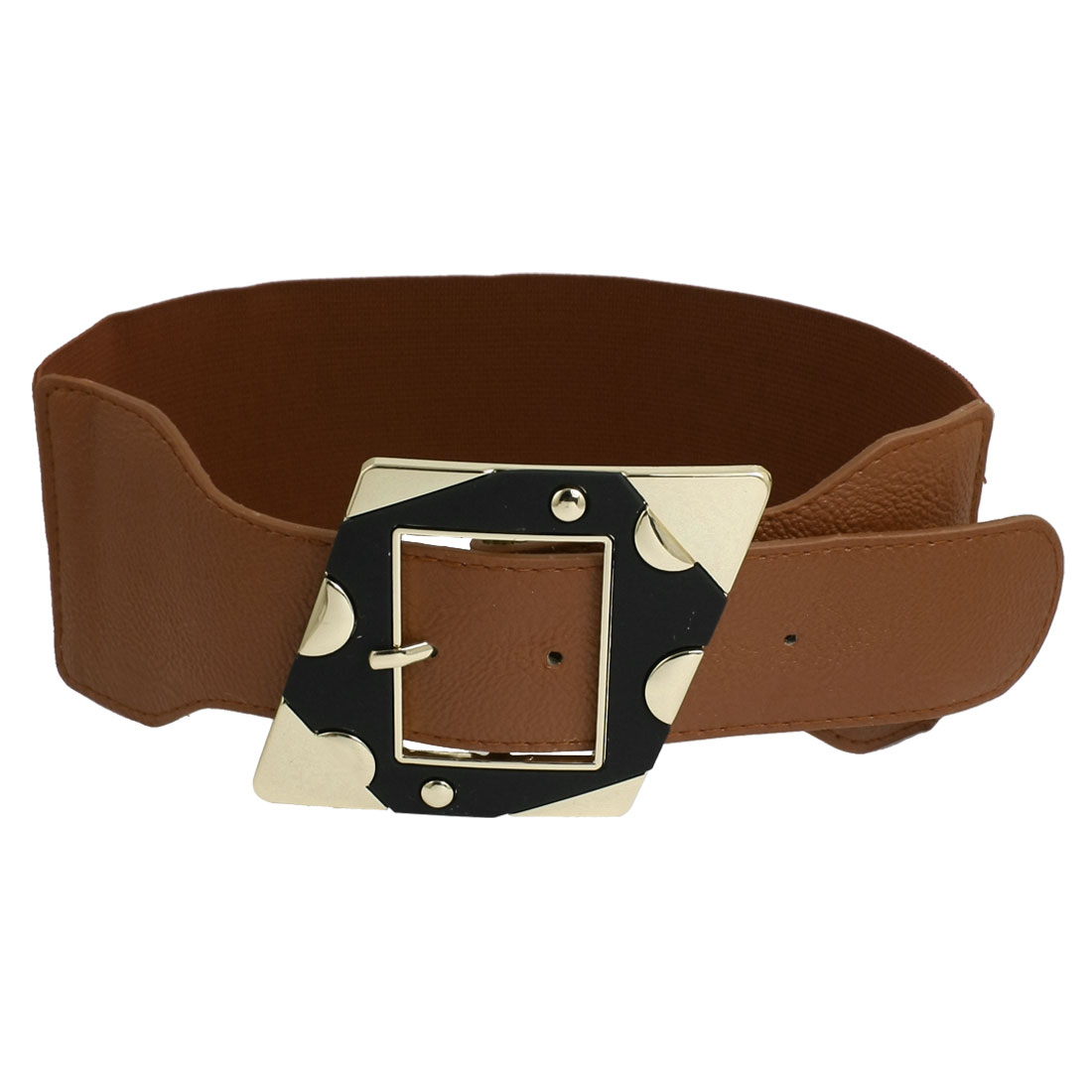 Ladies 7.5cm Wide Single Pin Buckle Stretchy Cinch Belts Brown