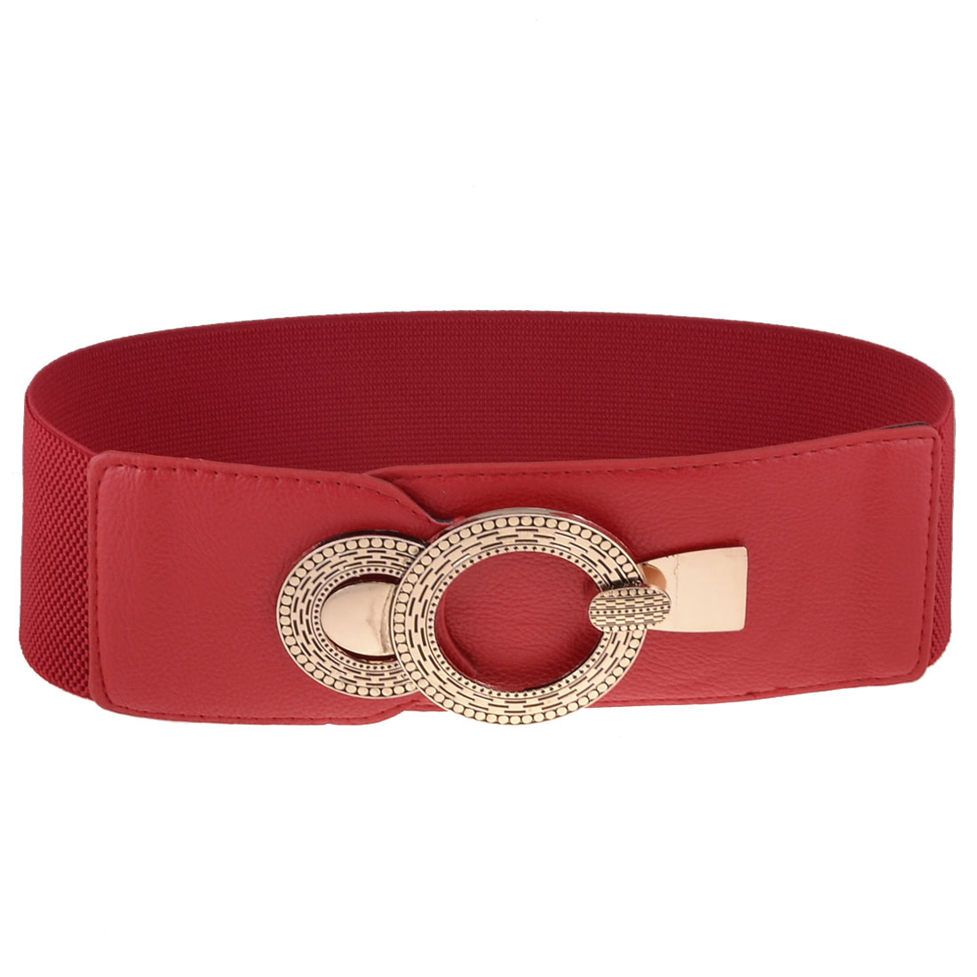 Woman Metal Interlocking Buckle 7.5cm Wide Elastic Waist Belt Waistband Red