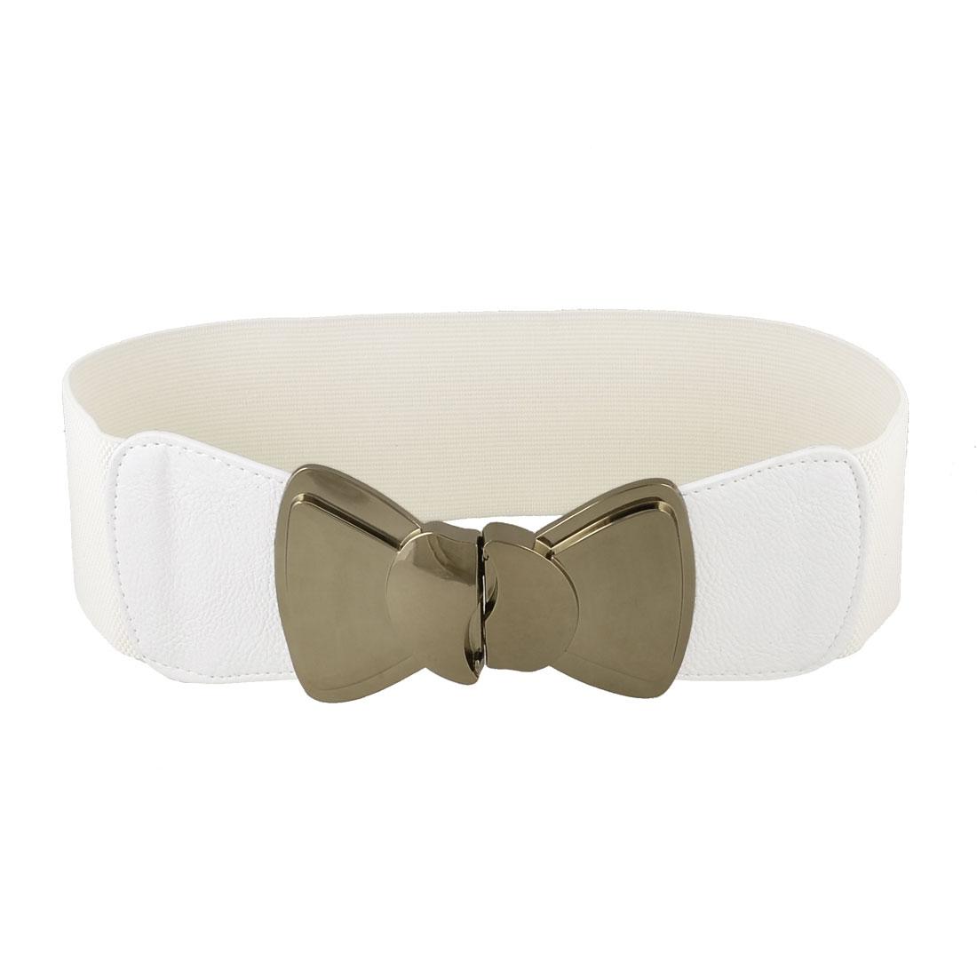 Bowtie Decor Interlock Buckle 7.5cm Wide Elastic Waist Belt Band Waistband White