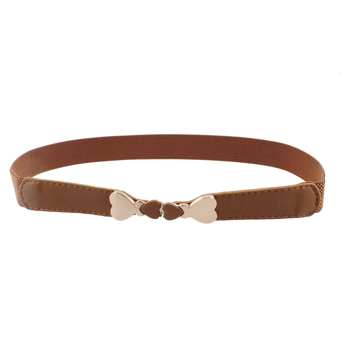 Heart Detail Interlocking Buckle Elastic Brown Waist Belt Waistband Corset Band for Ladies