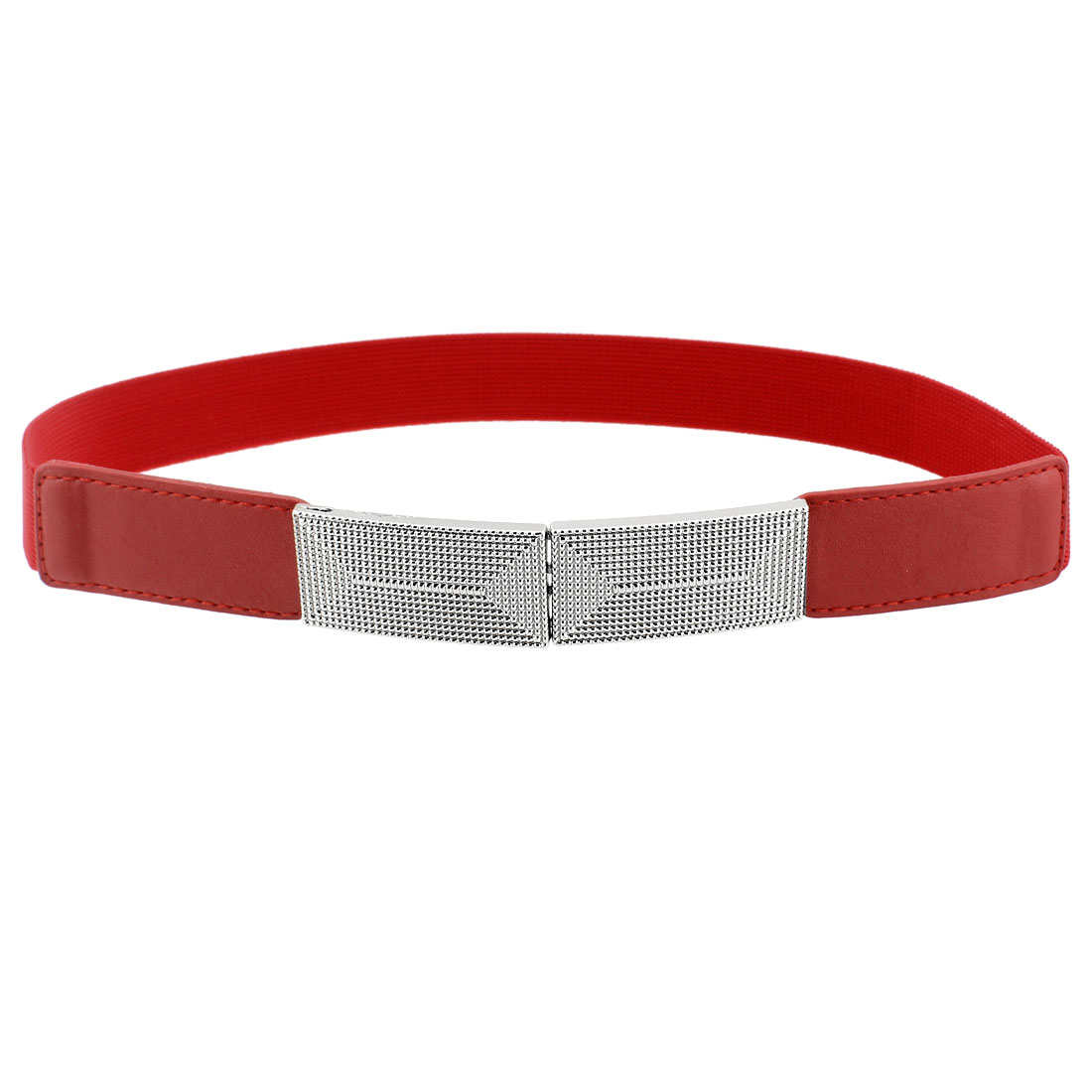 Ladies Girl Dual Interlocking Buckle Stretchy Band Slim Waist Belt Red