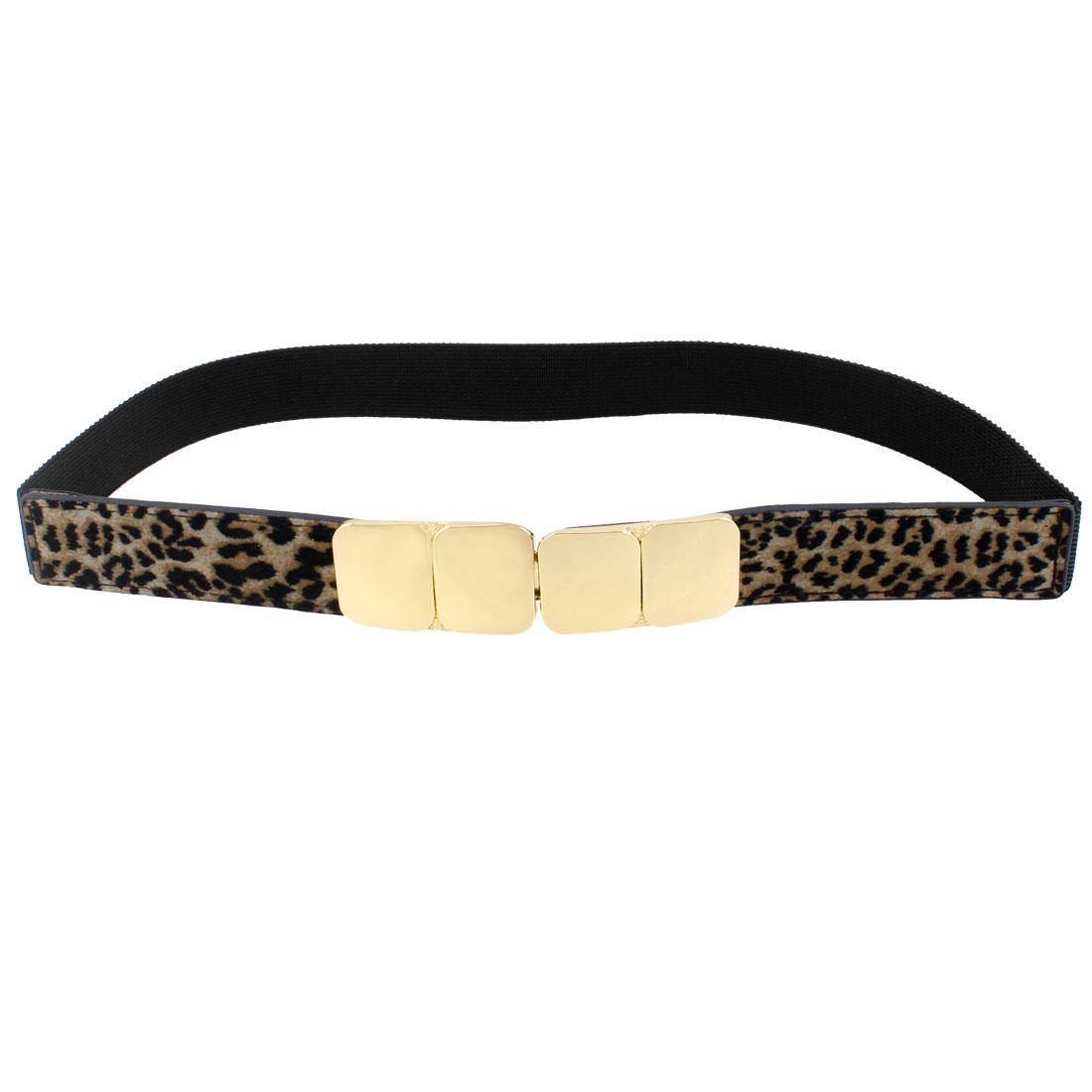 Interlocking Buckle Leopard Pattern Stretchy Waistband Waistbelt Brown Black for Ladies Girl
