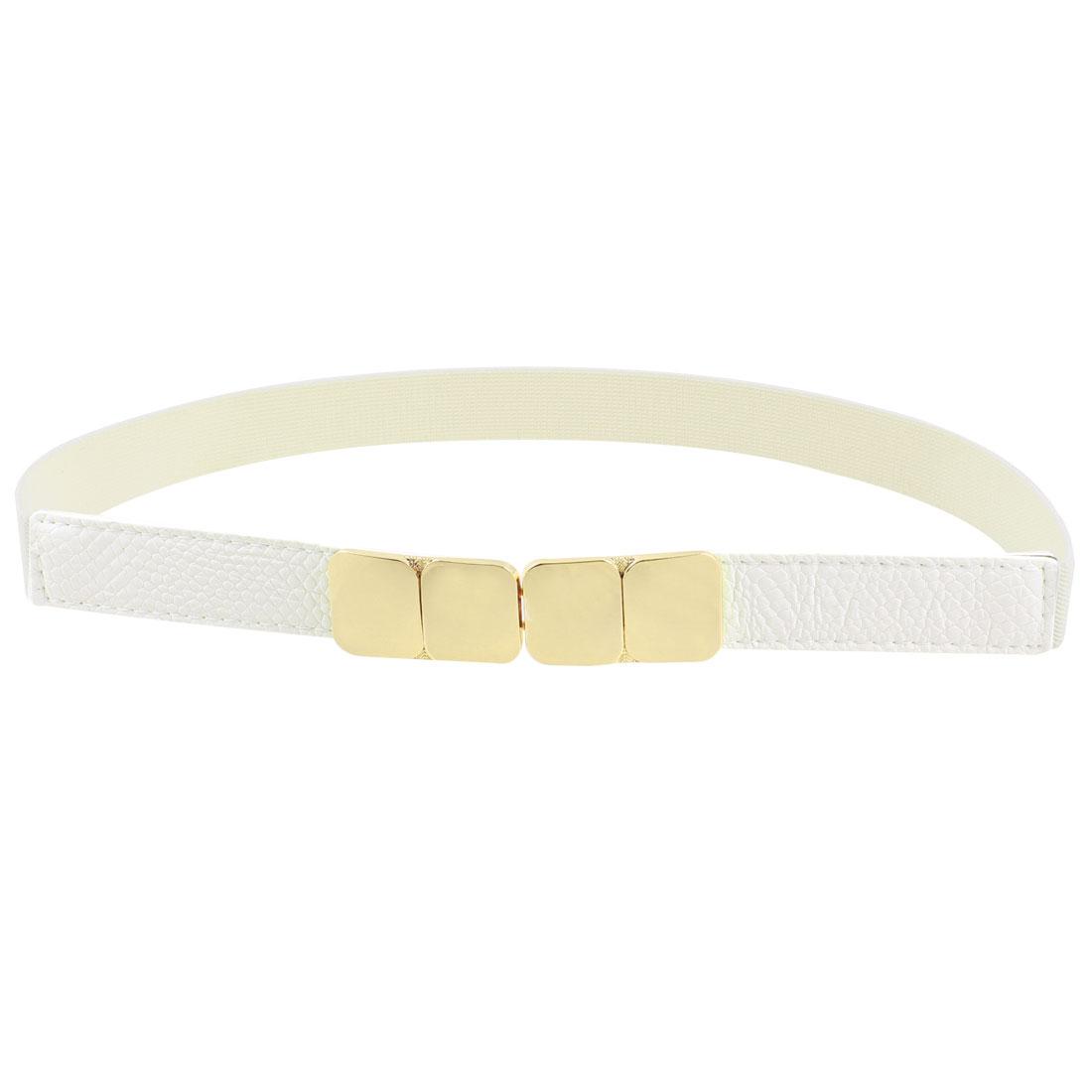 Metal Interlocking Buckle Stretchy Skirt Waistband Waistbelt White for Ladies Girl