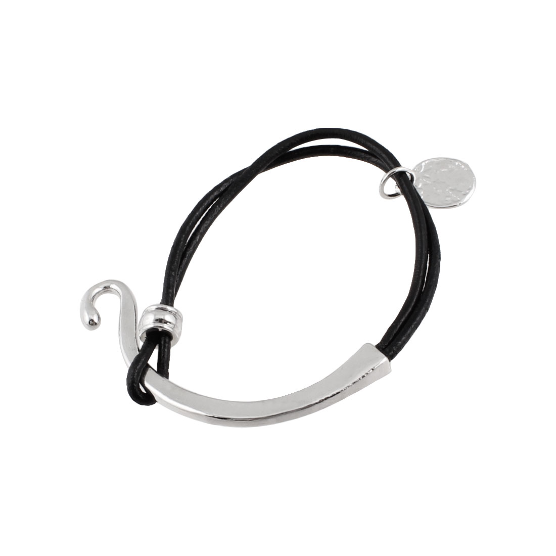 Women Black Faux Leather Chain Detail Metal Hook Closure Bracelet Silver Tone