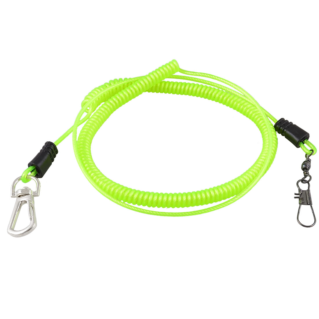 Yellow Green Retractable Plastic Coiled Fishing Lanyard Rope Cable 3 Meters